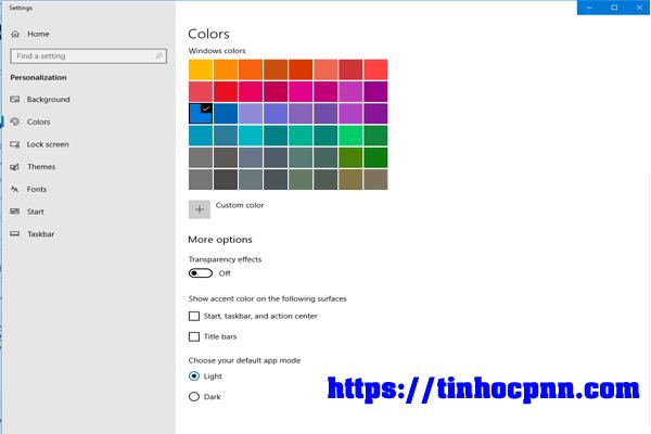lăn chuột kéo bảng Color bên phải xuống, tới mụcTransparency Effect