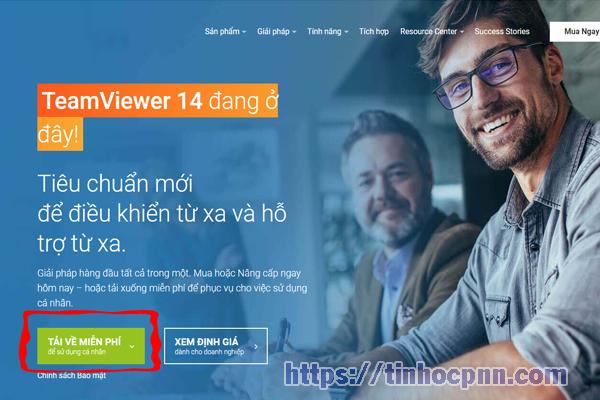 Vào trang chủ teamviewer, chọn tải về miễn phí