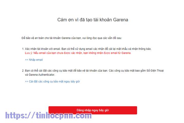 Thông báo cảm ơn bạn đã tạo account Garena